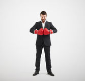 Homme dans les gants de boxe rouges regardant l'appareil-photo Images stock
