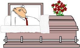 Homme dans un cercueil Photo libre de droits