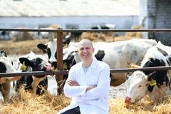 Homme dans un manteau blanc à la ferme de vache Images stock