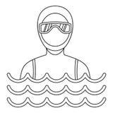 Homme dans une icône de costume de plongée, style simple illustration stock