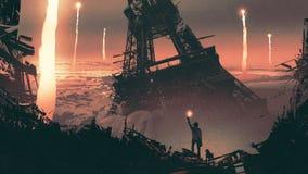 Homme dans une ville courrier-apocalyptique illustration stock
