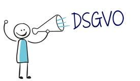 Homme de bâton de chiffre de bâton avec le dsgvo de cri de mégaphone illustration stock