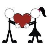 Homme de bâton d'amour de pictogrammes et girl7 Images libres de droits
