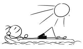 Homme de bâton de vecteur de bande dessinée détendant sur le matelas pneumatique, matelas d'air illustration libre de droits