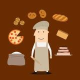 Homme de Baker avec la pâtisserie et la boulangerie Photographie stock libre de droits