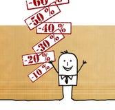 Homme de bande dessinée avec des labels de prix discount Illustration Stock
