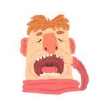 Homme de bande dessinée avec la bouche ouverte sur une illustration de vecteur de personnage de dessin animé de visite de dentist Photo libre de droits