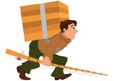 Homme de bande dessinée avec la canne à pêche et la boîte en bois lourde de transport illustration libre de droits