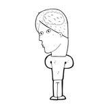 homme de bande dessinée avec le grand cerveau illustration libre de droits