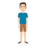 Homme de bande dessinée avec le pantalon court et la coiffure Image libre de droits