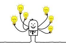 Homme de bande dessinée avec les ampoules multi Illustration Stock