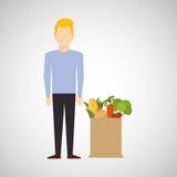 Homme de bande dessinée blond avec la nourriture saine de sac de boutique illustration de vecteur