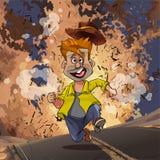 Homme de bande dessinée courant à partir d'une explosion sur la route illustration de vecteur