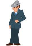 Homme de bande dessinée dans le chapeau et le costume gris illustration libre de droits