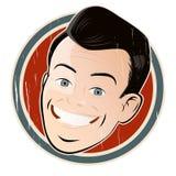 Homme de bande dessinée de vintage sur un insigne illustration de vecteur