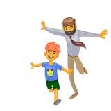 Homme de bande dessinée et son fils sur le fond d'isolement Images stock