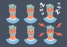 Homme de bande dessinée exprimant l'émotion différente illustration de vecteur
