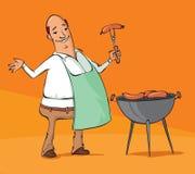 Homme de bande dessinée grillant des saucisses sur le BBQ Images stock