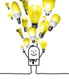 Homme de bande dessinée jetant un ensemble d'ampoules illustration stock