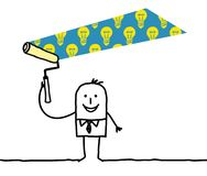 Homme de bande dessinée peignant un BulbsPattern léger illustration libre de droits