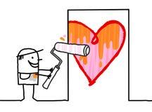 Homme de bande dessinée peignant un grand coeur sur la porte Photographie stock