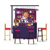 Homme de barman avec la barre et le cocktail conception de personnages - Photographie stock libre de droits