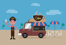 Homme de barman et camion de nourriture de café Image stock