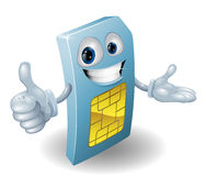 Homme de carte de sim de téléphone portable de dessin animé Photographie stock libre de droits