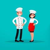 Homme de chef et cuisinière de femme Illustration de vecteur illustration libre de droits