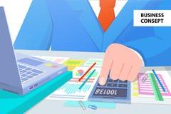 Homme de concept d'affaires à l'illustration de vecteur de travail Image stock