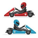 Homme de conducteur de kart dans le casque Photographie stock libre de droits