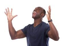Homme de couleur bel criant avec l'excitation photos libres de droits
