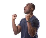 Homme de couleur bel enthousiasmé de l'excitation photographie stock libre de droits