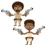 Homme de couleur et femme avec des armes à feu, deux caractères illustration de vecteur