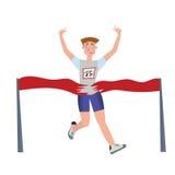 Homme de coureur de finissage Athlète, gagnant de marathon Illustration de vecteur, d'isolement sur le blanc illustration de vecteur
