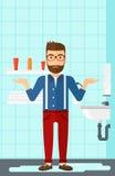 Homme de désespoir se tenant près de l'évier disjoint illustration stock