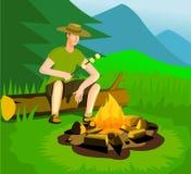 Homme de détente près de feu de camp Illustration de Vecteur
