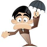 Homme de dessin animé avec le parapluie Photo libre de droits