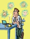 Homme de dessin animé rêvant des filles Photo libre de droits
