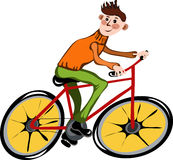 Homme de dessin animé sur le vélo photo stock