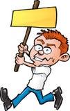Homme de dessin animé avec le panneau blanc de protestation Photos stock