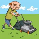 Homme de dessin animé fauchant sa pelouse Photos libres de droits