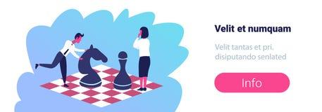 Homme de femme d'affaires jouant le mâle féminin de concept de concurrence de carrière de la tactique d'affaires de stratégie d'é illustration de vecteur