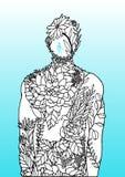 Homme de fleur de corps humain à l'intérieur de la conception d'illustration d'art abstrait d'énergie de puissance d'esprit tirée illustration de vecteur