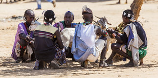Homme de Hamar au marché de village Turmi Abaissez la vallée d'Omo l'ethiopie Image libre de droits
