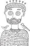Homme de hippie avec des oiseaux et des fleurs sur sa tête Page de coloration Photo stock