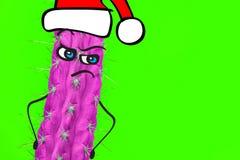 Homme de hippie de cactus avec le chapeau de Santa Concept tropical de Noël Art minimal d'amusement photos stock