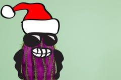 Homme de hippie de cactus avec le chapeau de Santa Concept tropical de Noël Art minimal d'amusement photos libres de droits