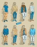 Homme de hippie dans l'ensemble de mode Photos stock