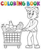 Homme de livre de coloriage avec le caddie illustration libre de droits